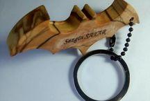 Batman olivewood keychain