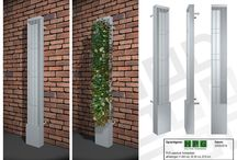 Urban solutions climbing plants / Freestanding columns for climbing plants, the plant grows freely from the wall, suitable for vertical gardening into walls and other objects in the city.
