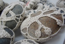 """Curious Pebbles (Crochet Stones) / My little """"Found Art"""" Project... Find a stone on the beach... take it home and cover it in crochet, take it BACK to the beach and leave it there for someone else to find!  Plus, You know, I also just like stones."""