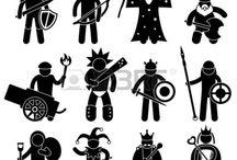 Icônes personnage/second en papier