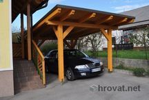 Wooden carports - Leseni nadstreški / Custom made and unique solutions of wooden carports for 1, 2, 3 or more cars. Several different models in laminated or massive wood, CNC machine cut.