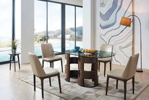 Modern Wood Glass Walnut Dining Collection
