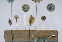 flores en papel maché
