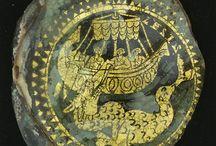 verre romain - médaillons