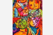 Obra Plástica y Bidimencional / La artista Elmar maneja diferentes técnicas pictóricas tales como óleo sobre lienzo, acrílico sobre lienzo mosaico en cerámica, técnica la cual utiliza en la realización de murales y demás intervenciones artísticas en los espacios. Su arte se caracteriza por una explosión de color, brillo y vistosidad la cual se puede observar en su obra.