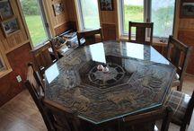 meuble rustique / meuble rustique avec gravure