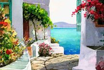 Water-color Landscapes,nature,towns&cities
