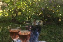 Закат солнца, бокал прохладного розового вина и первый урожай голубики с ежевикой