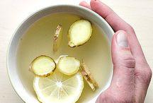 ginger, lemon, honey, water