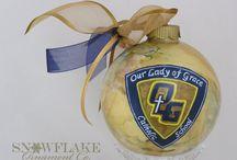 School Logo Personalized Glass Ornament