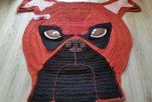 Carpet crochet dog-boxer