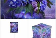 Hydrangea Decorator Collection / A collection of coordinated home decor products with the Hydrangea In Hydrangea Vase art. Includes fabric, pour, lamps, blankets, tablecloth, napkins, blankets, pillows, and more. Featuring the art of Carol Cavalaris.