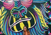 fotos em paredes grafitadas