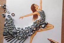 Ilustrações... elementos do cotidiano e movimentos graciosos
