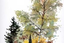 groupe arbres aquarelle