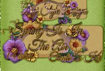 DSD Create A Kit Spring is in the Air / DSD Create A Kit Spring is in the Air Spring kits all using the same color swatch, kits 1-4$, different designers from the Digi Style Designs Scrapbooking store