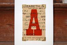 Handmade alphabet greetings cards