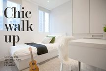 Chic Walkup / In this serviced apartment project,  we have given life and a new identity to an old walkup apartment. The 450 sq.ft apartment are split up into 3 open plan suites with private kitchette and bathroom. Each suite is small but compact and cozy.