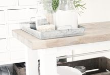 Farmhouse Style Kitchens / Farmhouse  Wood and White Rustic Cottage Simple Collected Primitive Wood White Painted Cabinets Wood Floors Walk In Pantry Shiplap paint colors joanna gaines decor table cupboards simple