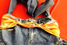 Denim skirt side bad DIY / DIY skirt into bag