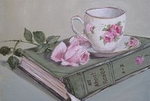 teacups with flowers