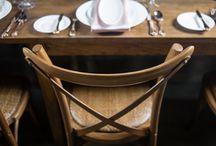 "Blushing Bride / Dinnerware: SOHO PLATE  Flatware: KING JAMES CUTLERY  Glassware: 16 OZ SOMMELIER WINE CHAMPAGNE FLUTE SOMMELIER SOMMELIER GOBLET  Linen: CONFETTI 18""x120"" RUNNER CHAMPAGNE Beverley Hills Satin 22x22 Lined Napkins Nu Blush  Seating: HARVEST CHAIR - FRUITWOOD  Votives: QUILTED CRYSTAL VOTIVE WITH TEA LIGHT"