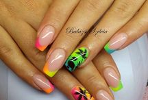 nail stamping and sticker art / Cute nail ideas where a stamping plate was used to get the look