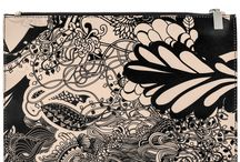 Small Pouch - Black Ivy / Women Leather Pouch, Limited Edition Designer Leather Pouch COLOURS OF MY LIFE - Limited Edition wearable art signed by Anca Stefanescu.