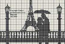 grilles de point de croix monochrome