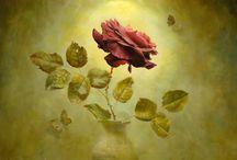 Alexei Antonov- rosen painting / realistic painting - rose painting