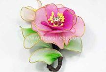 Flores de medias de nylon