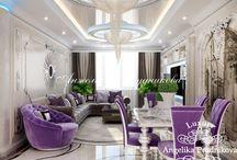 Стиль Ар-Деко в Покрышкино / Дизайн квартиры в Покрышкино выполнен в стиле Ар-Деко Анжеликой Прудниковой. В интерьере присутствует большое количество гладких и блестящих поверхностей, которые является одним из компонентов направления. Приятная цветовая палитра гостиной состоит из серебренного и фиолетового цвета. Такой контраст привлекает внимание и делает дом индивидуальным.