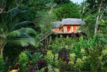 Matangi Fiji Accommodations / Guests stay in one of 14 Fijian bures that line the beach on Matangi.