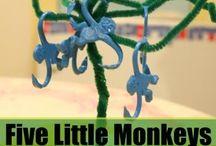 """Monkeys / Monkey play ideas with a focus on """"Five Little Monkeys""""."""