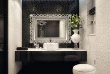 Łazienka bialo czarna
