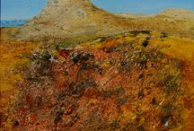 Acrylbilder Toskana / Die Bilder sind mit den Materialien Erde, Asche und Sand erstellt.