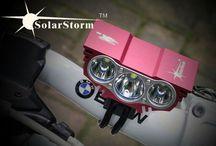 Solarstorm fietslamp led X3 zwart en rood / Solarstorm x3 3keer cree t6