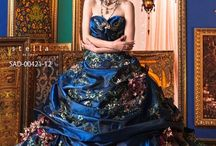 Wonderful dark blue flowery fairy tale wedding dress