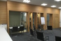 Majestic Wines Head office in Watford with Oak Tongue and groove Panelling / Showing Majestic Wines Head office in Watford with Oak Tongue and groove Panelling