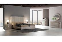 Modern Eco-Leather Wood Veneer Beige Bedroom Collection