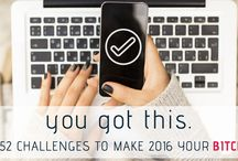 52 Challenges to Make 2016 Your Bitch / NextGen MilSpouse created a list of 52 practical, important and totally doable goals you can accomplish in ONE week or less.