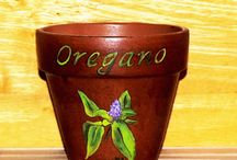 Terra Cotta Pots / Hand painted herb pots and flower pots. / by Lloyd's Board Room