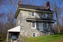 Historic Houses in Brandywine Valley / 18th century John Chads House and Springhouse, Barns-Brinton House in Chadds Ford, PA. Managed by Chadds Ford Historical Society. Open for tours.
