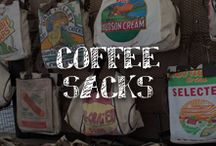 Moore: Coffee Sacks / Wake up to the vintage agricultural vibe and decorating versatility of these burlap coffee sacks. Embroidered, painted or upholstered -- effortless rustic chic style is in the bag. / by A.C. Moore Arts & Crafts