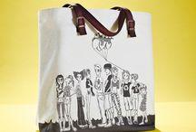 01WARDROBE Autumn/Winter 2013 - Family Tote Bag / Cow Skin Leather Shoulder Straps // %100 Cotton Canvas bag / Printed bag / İllustrated bag / Family Tote Bag / People