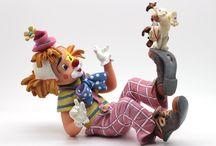 Nadal Clown Figurines / Nadal Porcelain Clown Figurines