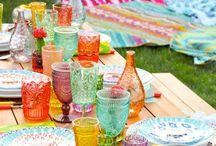 Sommerparty - Gartenparty / Ideen für die Gartenparty, Deko-Ideen, Tischdekoration, Pom Poms, Essen und Trinken