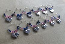 Weddings / Wine glass charms and Frosies (fabric posies) made by www.handmadecraftcompany.co.uk Contact me to discuss your bespoke order.