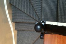 Wall-to-Wall Stair Runners/Stair Treads / Wall-to-wall carpeting: The most practical option if you don't want to expose the ugly plywood or imperfect hardwood on your steps  Stair Treads: Treads are different from runners in that they only cover the treads rather than the entire step. Treads provide traction to keep from slipping while preserving the natural look of the stairs. Treads can be custom fabricated from carpet the same way that runners are. They are installed with either staples or two-faced tape.