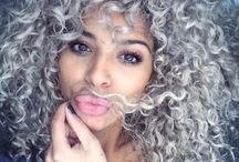 Grey curly hair <3